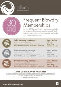 Frequent Blowdry Membership-Hairdresser Berwick and Mount Martha-Allura Hairdressing Boutique