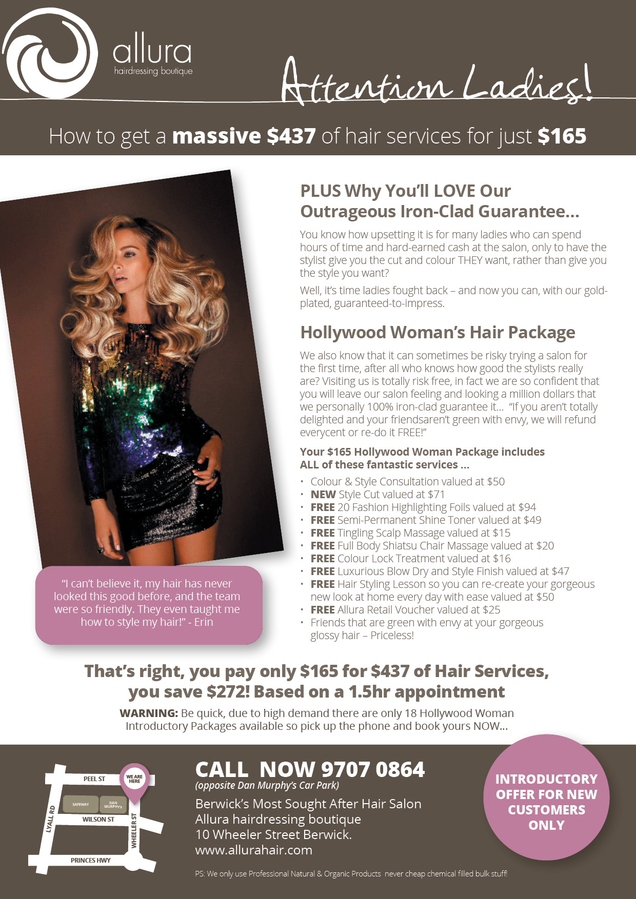 Hollywood Woman Offer-Allura Hairdressing Boutique